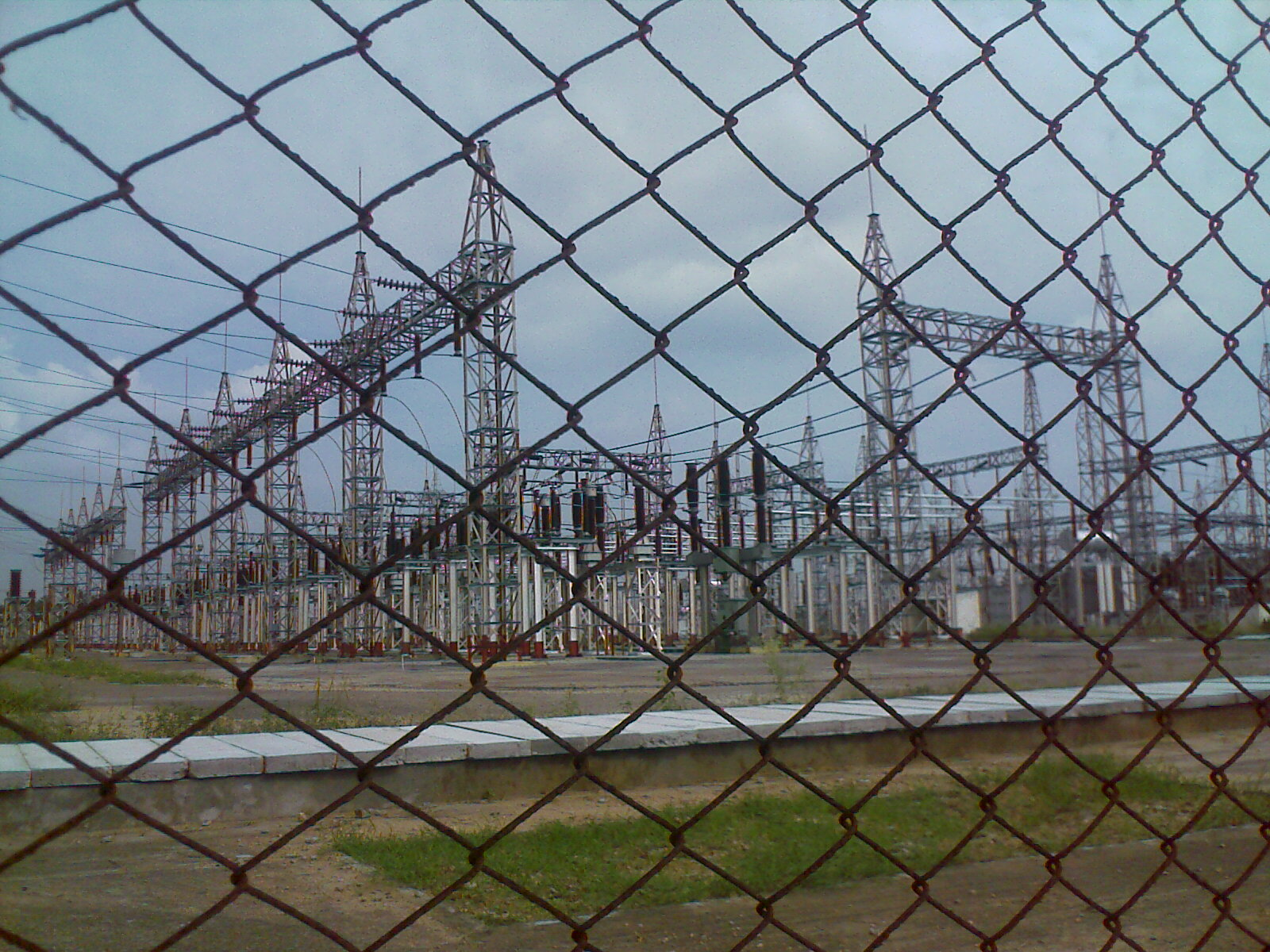 An electrical distribution centre through the fence