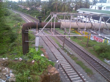 Railway tracks from an overbridge